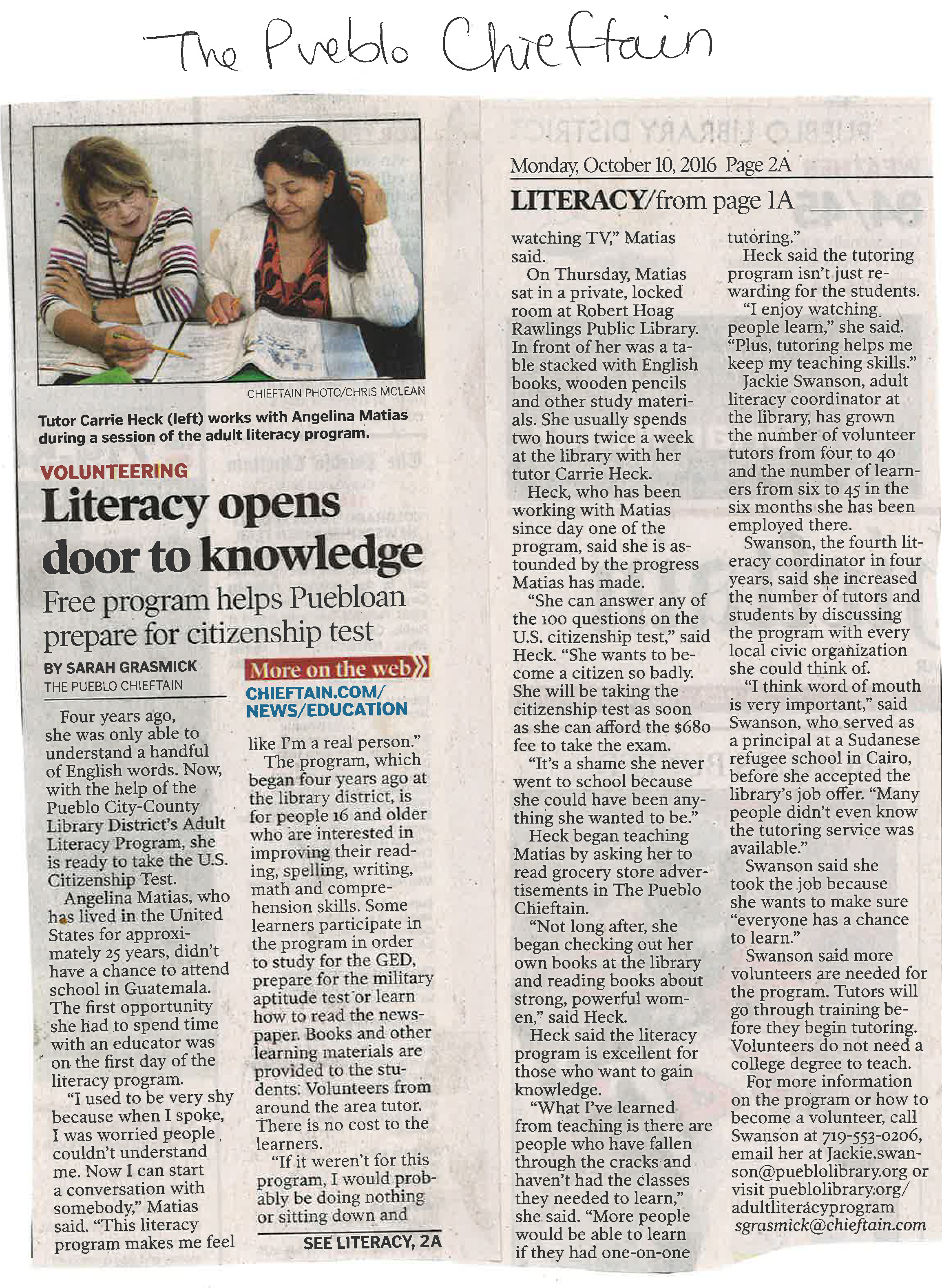 adult literacy program pueblo city county library district see our article in the pueblo chieftan
